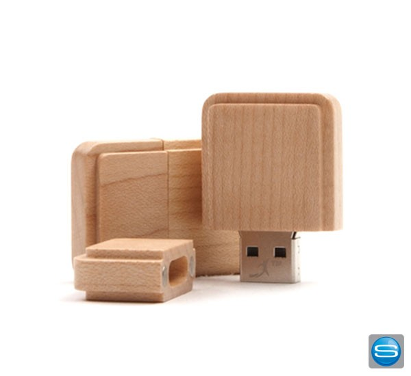 USB Stick aus Holz in Quadratform